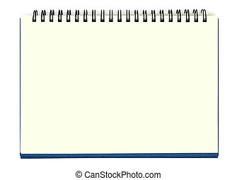 Yellow Notebook - Opened notebook isolated with clipping...