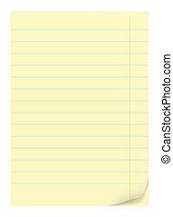 Yellow notepad sheets