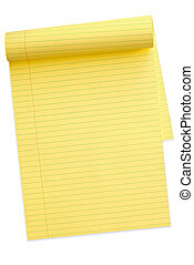 Yellow lined notepad, with pages turned back, isolated on white. Clipping path included.