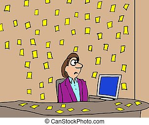 Yellow Notes - Business cartoon about a businessman with...