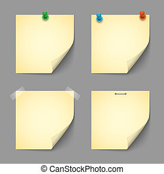 Yellow notice papers with pins and scotch. Vector set