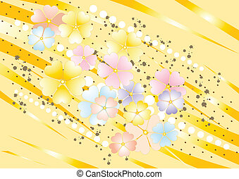 Abstract yellow nuance background with painted flower. Background. Wallpaper.