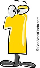 Yellow number one with eyes, illustration, vector on white background.