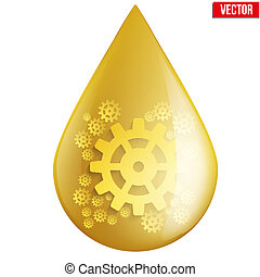 Yellow oil industry drop symbol with gears cogs. Vector...