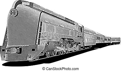 yellow old-fashioned train_engraving - vectorial image of...