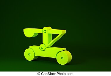 Yellow Old medieval wooden catapult shooting stones icon isolated on green background. Minimalism concept. 3d illustration 3D render