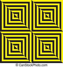 Yellow on black and black on yellow abstract zig zag