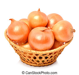 Yellow onion in the basket