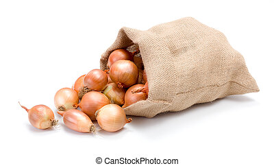 Yellow onions in burlap bag
