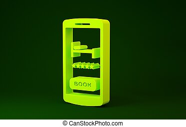 Yellow Online hotel booking icon isolated on green background. Online booking design concept for mobile phone. Minimalism concept. 3d illustration 3D render