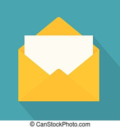 yellow open envelope icon- vector illustration