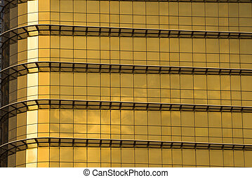 yellow or gold mirror glass building, exterior building