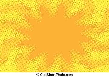 Yellow orange abstract pop art retro comic background