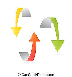Yellow, Orange and Green 3d Vector Arrows