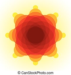 Yellow, orange and red blended transparent circles on light yellow background