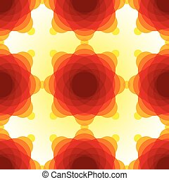 Yellow, orange and red blended transparent circles on light yellow background seamless pattern