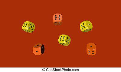 Yellow Orange Dice, 3D illustration on Red