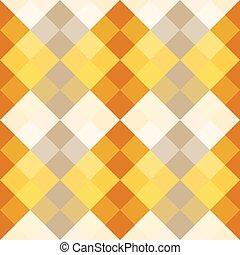 Yellow, orange, gray harmony simple squares seamless pattern...