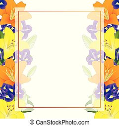 Yellow Orange Lily and Blue Iris Flower Banner Card Border