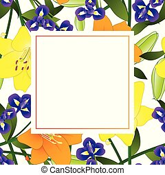 Yellow Orange Lily and Blue Iris Flower Banner Card