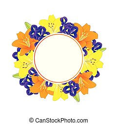 Yellow Orange Lily and Blue Iris Flower Banner Wreath