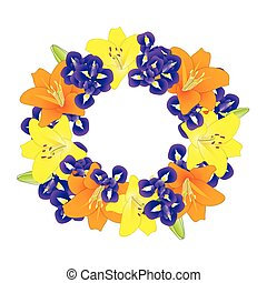 Yellow Orange Lily and Blue Iris Flower Wreath