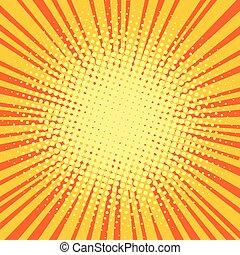 Yellow orange rays comic pop art retro background