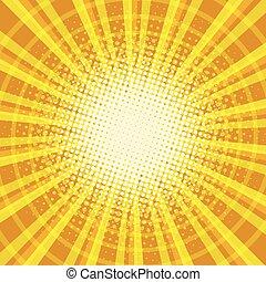 Yellow orange rays pop art retro vintage background