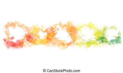 Yellow, orange, red and green watercolor blot appears on the...