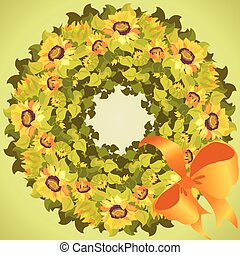 Yellow orange sunflower wreath and ribbon with bow, circle frame
