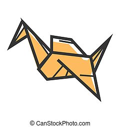 Yellow origami figurine - Vector illustration of yellow...
