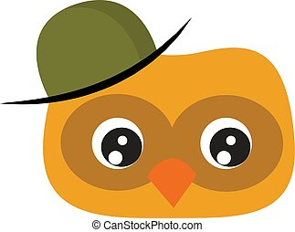 Yellow owl with green hat, illustration, vector on white background.