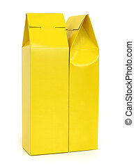 Yellow package box isolated on white background
