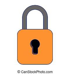 yellow padlock icon cartoon isolated blue lines