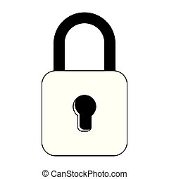 yellow padlock icon cartoon isolated in black and white