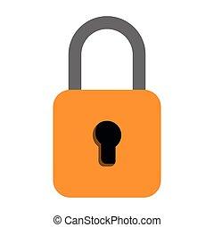 yellow padlock icon cartoon isolated