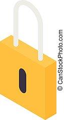 Yellow padlock icon, isometric style
