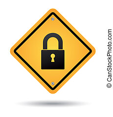 yellow padlock road sign for security