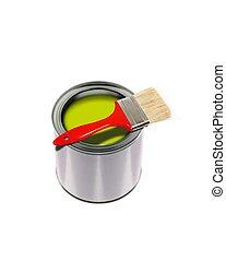 Yellow paint and brush