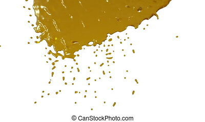 yellow paint flows down over screen in slow motion. syrup