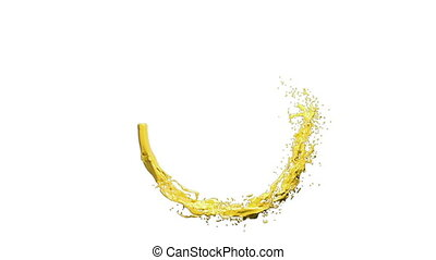 yellow paint forming a circle on clear white background. alpha matte, full hd, CG, 3d render Element of Motion graphics .