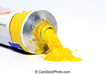 yellow paint on white background