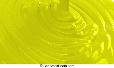 Yellow Paint Pouring Closeup - Yellow paint pouring closeup...
