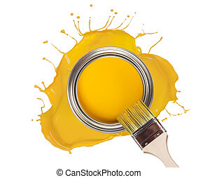 Yellow paint splashed out from can, isolated on white ...