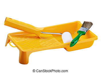 Yellow paint tray with foam roller