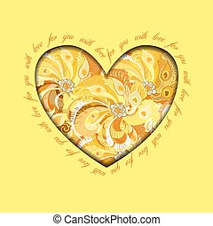 Yellow painted peacock feathers heart design. Love card.