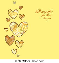 Yellow painted peacock feathers hearts design. Love card.