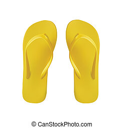 Yellow Pair of Flip Flops Isolated On White