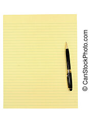 yellow paper and pen with white background