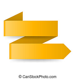 Two-step yellow zigzag paper arrow on white background